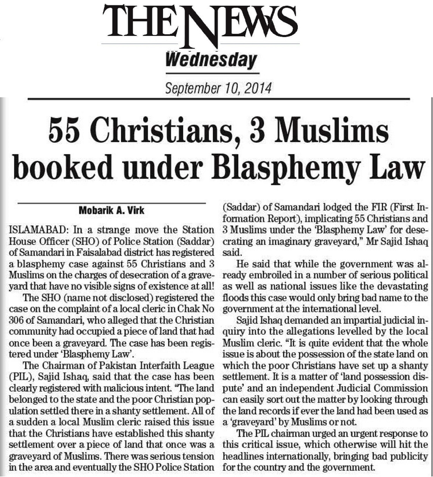 55 Christians, 3 Muslims booked under Blasphemy Law