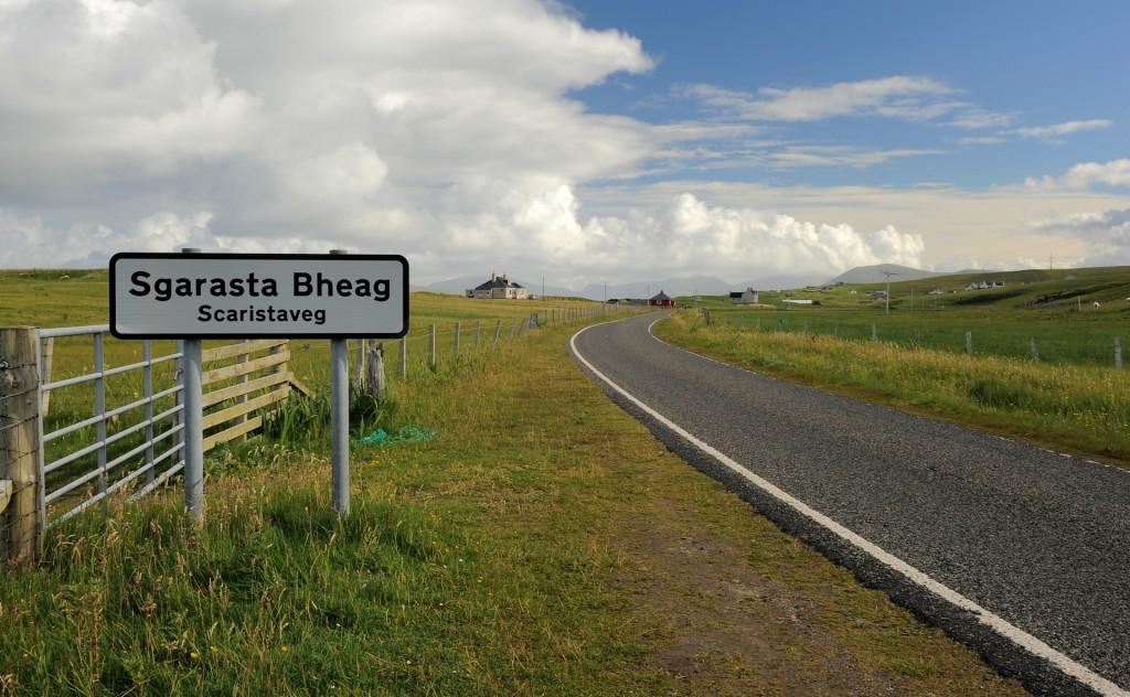 Un cartello in gaelico a Scarista, sull'isola di HARRIS