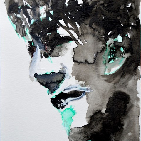 ink and green portrait face - Ilaria BereniceJPG