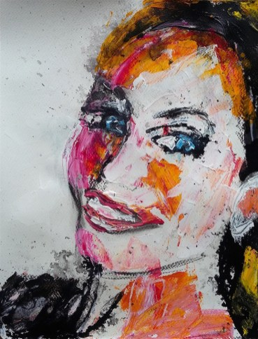 Deborah portrait mixed media Ilaria berenice