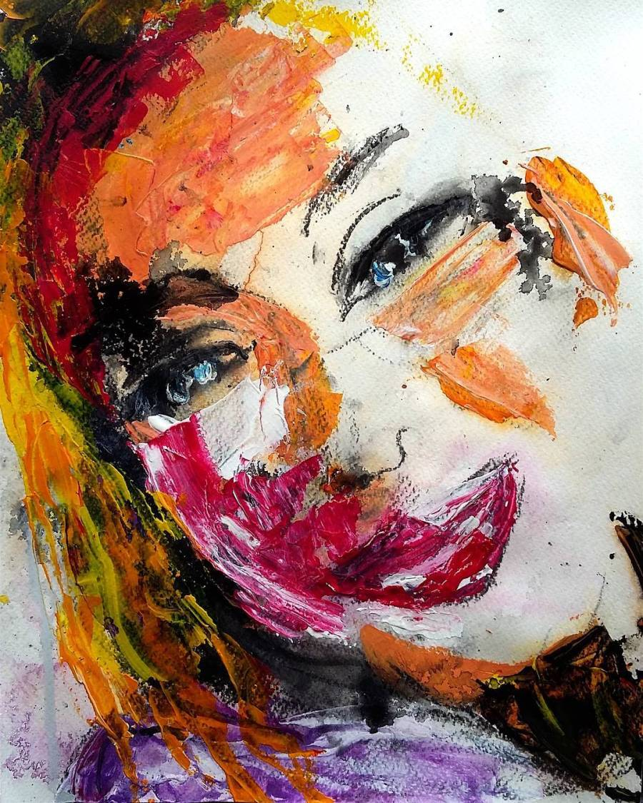 Mixed media portrait 25x33cm
