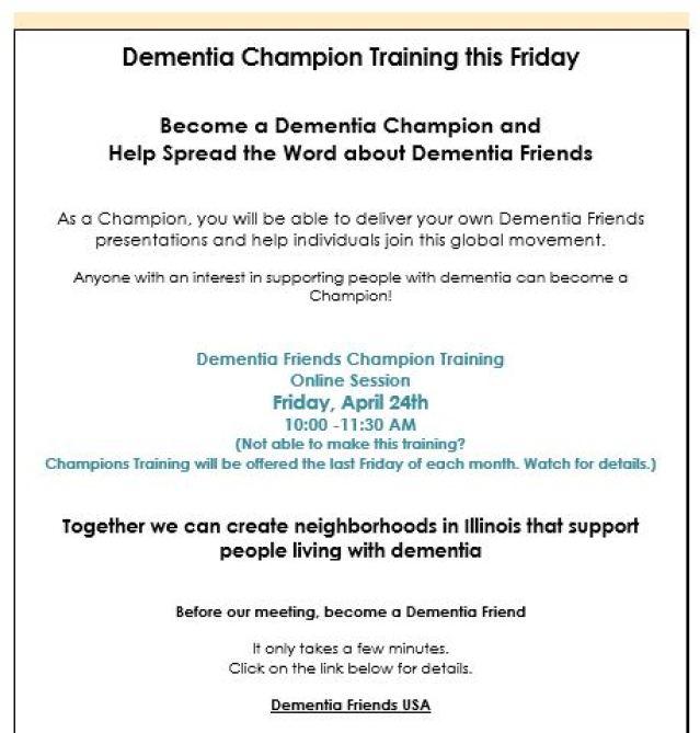 Dementia champion training p1
