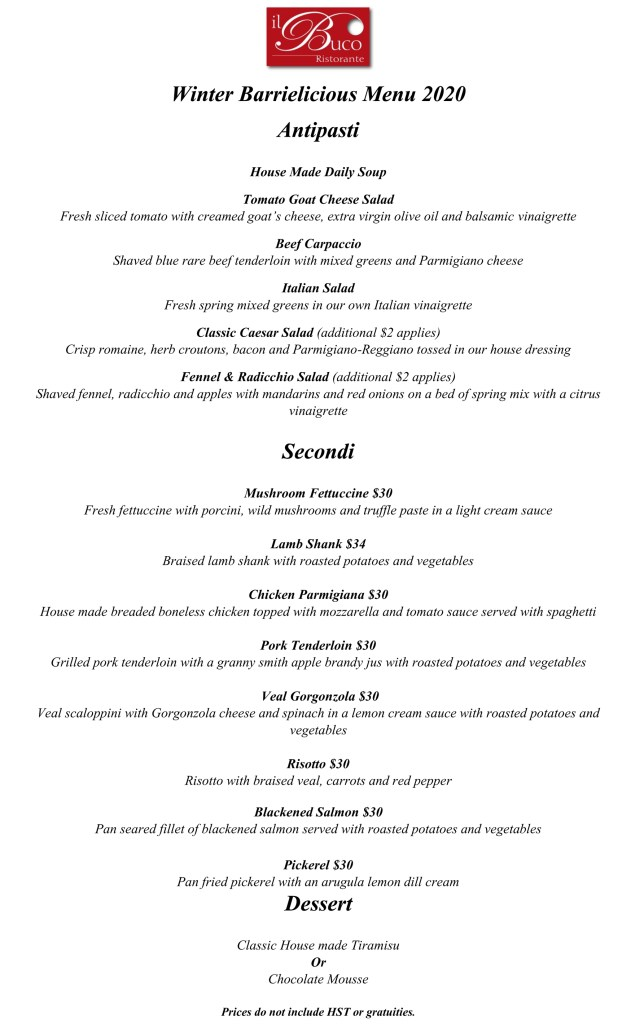 Il Buco Winter Barrielicious Menu
