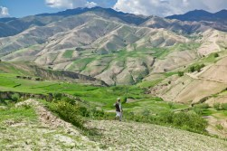 Man traveling on foot in the mountains on Badakshan