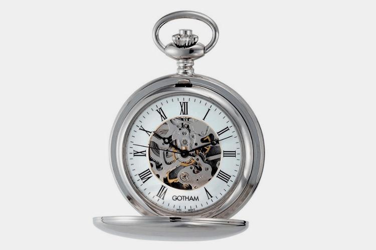 Orologio da tasca Silver Tone Mechanical di Gotham