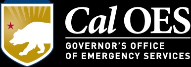 Cal OES, Governor's Office of Emergency Services logo. Black with white lettering, gold shield with white bear silhouette and red star over its head.