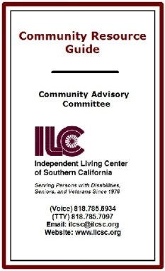 Community Resource Guide cover, larger version. Burgundy, black and white, with burgundy ILC logo. Coming Soon, newly updated Guide.