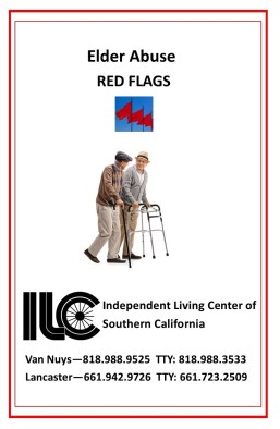 Cover of the Elder Abuse Red Flags booklet. Photo of two senior men walking and talking, one with cane and one with walker.