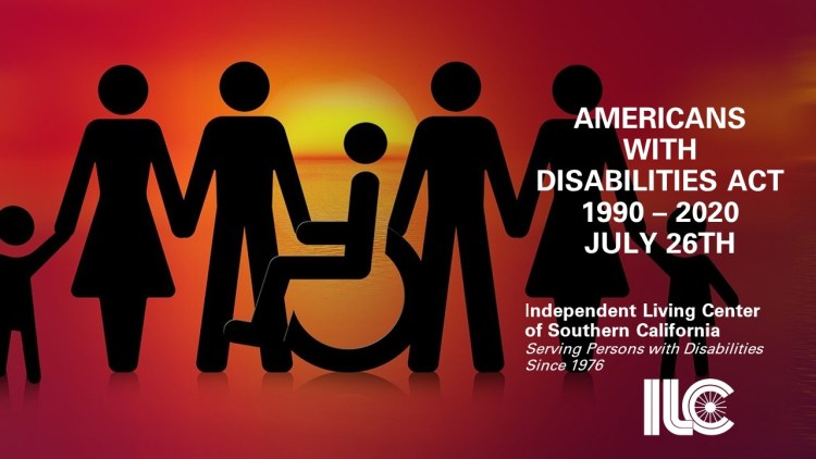 """Inclusion: Graphic with """"stick people"""" silhouettes (two families with man, woman and child on each side, holding hands, with person in wheelchair in the middle), looking at a sunset over the water. """"Americans with Disabilities Act 1990-2020, July 26th"""""""