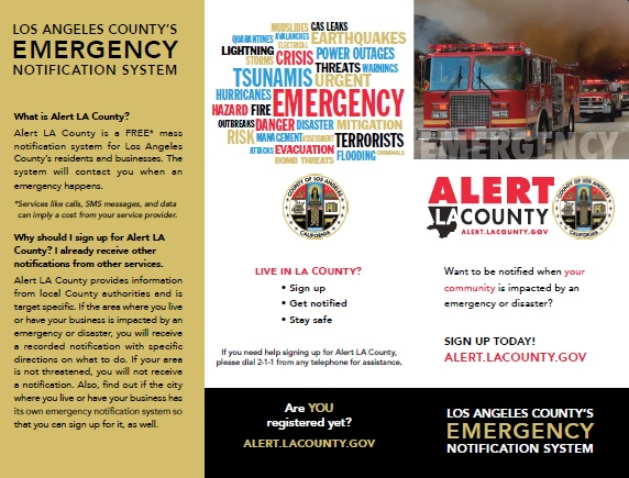 Tri-fold Brochure. Cover has picture of fire trucks, with text in red and black. Back of brochure has red, blue, black and gold colored text, with different names of emergency situations, with the Seal of the County of Los Angeles in color.