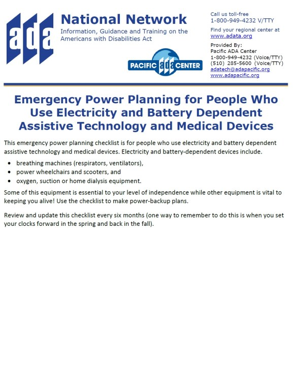 ADA National Network flyer on Emergency Power Planning for People Who Use Electricity and Battery Dependent Assistive Technology and Medical Devices. Graphics in shades of blue.