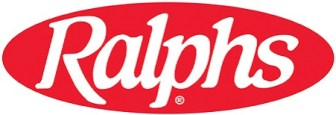 Red oval with Ralphs in white lettering. Ralphs logo.