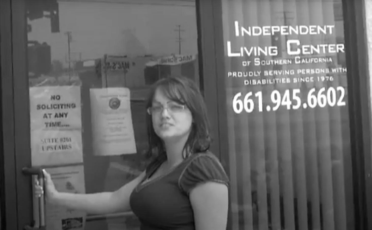 Woman entering Lancaster office of ILCSC