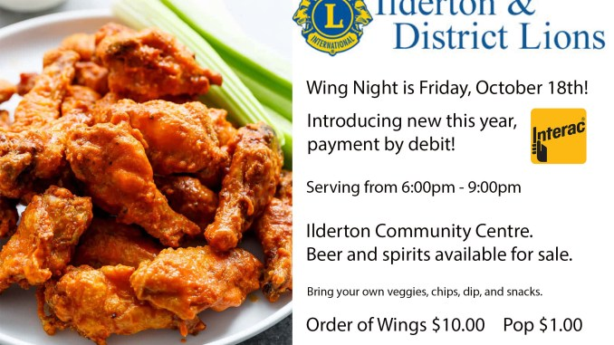 Wing Night October 18th, 2019. Debit available.