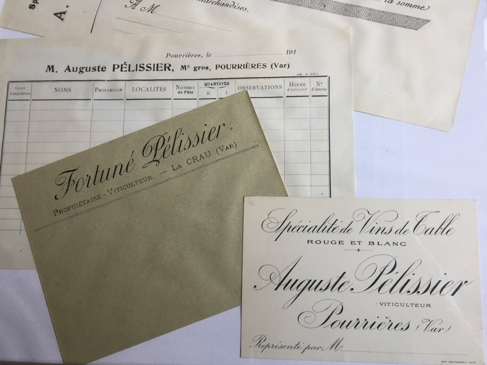 Anciens documents Auguste et Fortuné Pélissier