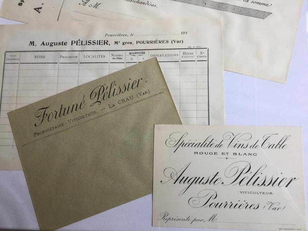 Anciens documents Auguste et Fortuné Pélissier