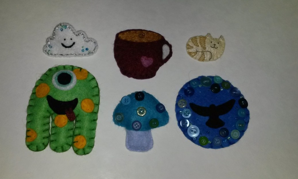 Felt brooches made as gifts