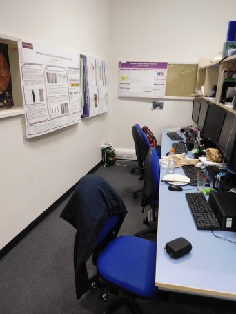 My desk, hidden away in the corner with the PhD students