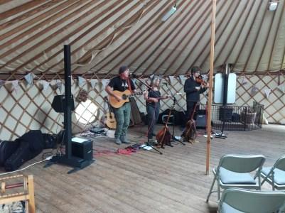 A folk band in a yurt
