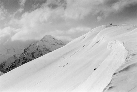 Black and white snowy mountain photo shot on film