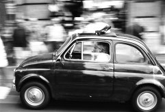 Black and white shot of Fiat in Rome