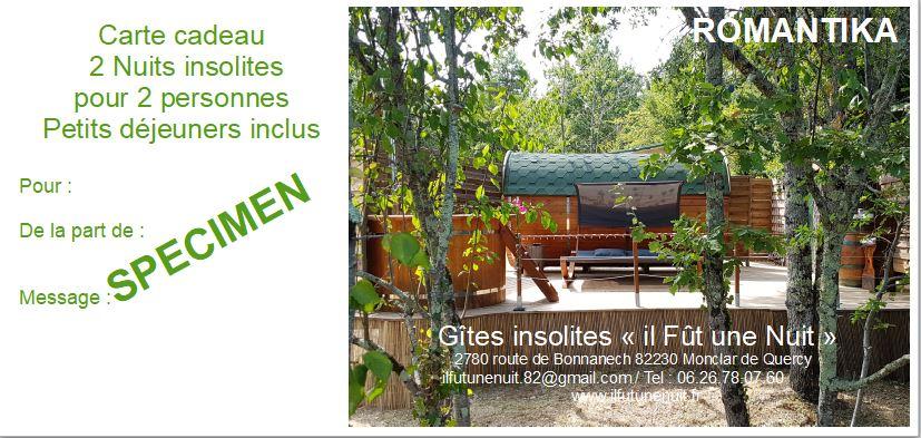 Carte cadeau nuit insolite Tarn et Garonne