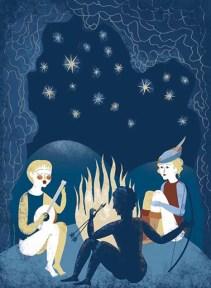 Imogene e i fratelli accanto al fuoco