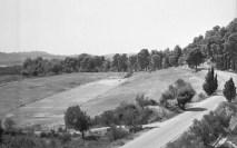 Το Στάδιο της Ολυμπίας από τα βορειοανατολικά μετά την αποκατάσταση. Το μνημείο δεν διέθετε ποτέ κερκίδες.