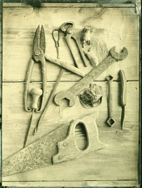 Tools Ambrotype / 18x24cm / framed