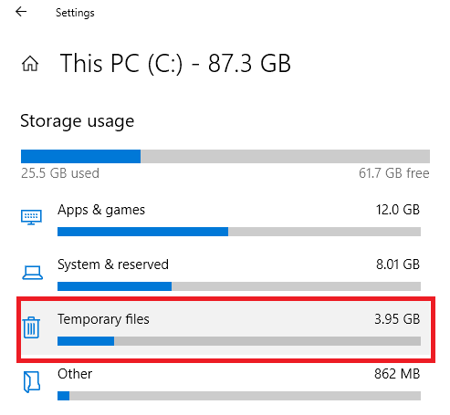 delete temporary internet files windows 10