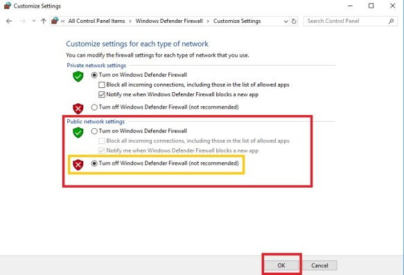 public network settings, how to turn off firewall windows 10