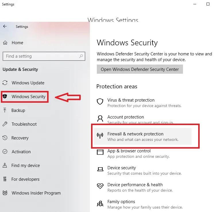 disable firewall windows 10