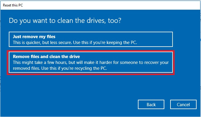 Restore Hard Drive to factory in Windows 10