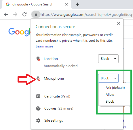 google voice search settings chrome