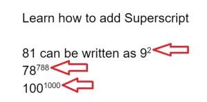 subscript superscript google docs
