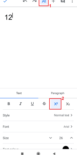 how to type subscript google docs
