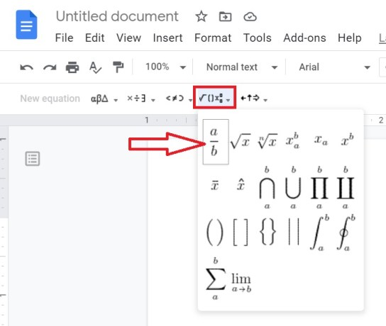 fractions in google docs, how to make fractions in google docs