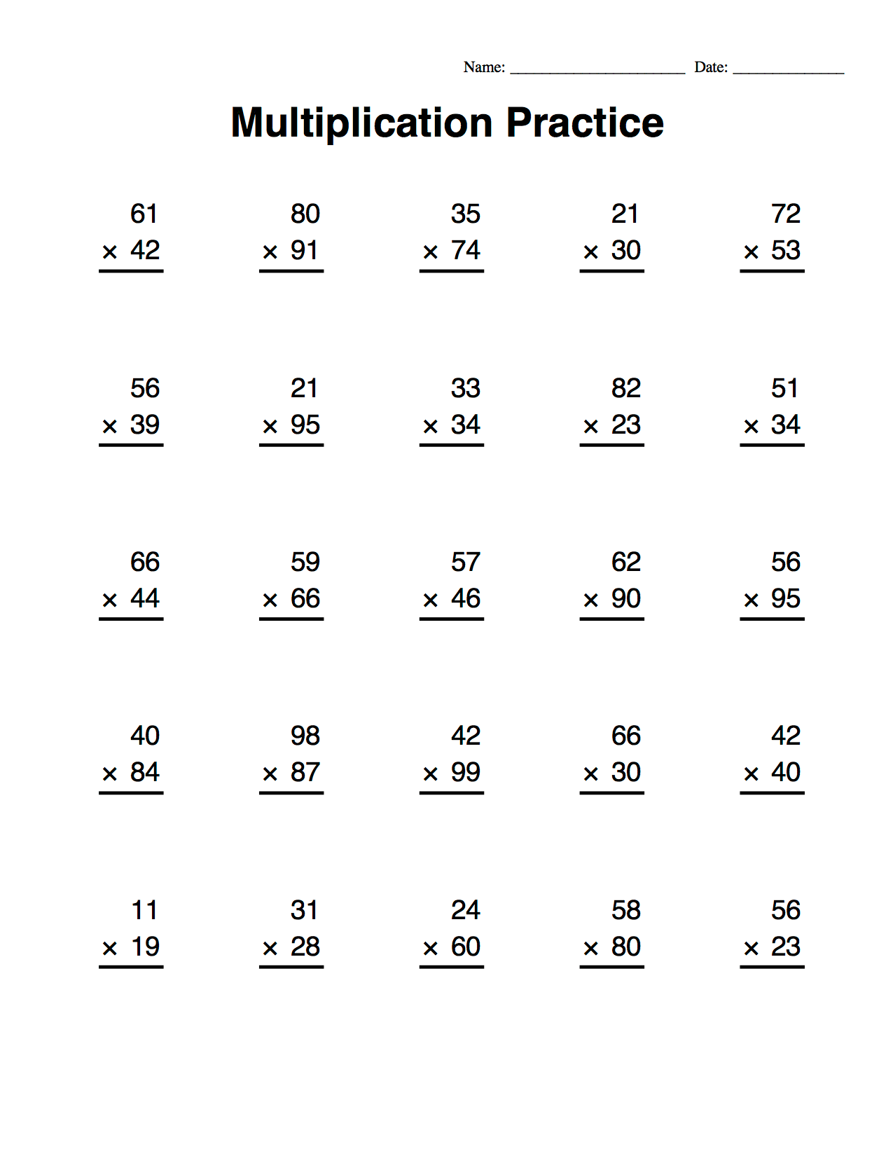 Hard Long Multiplication Worksheets