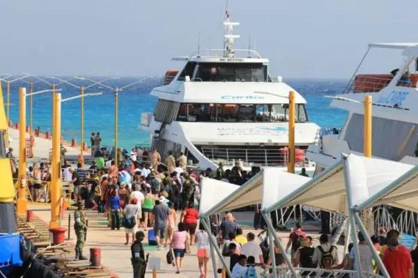 Playa Del Carmen Ferry crowd