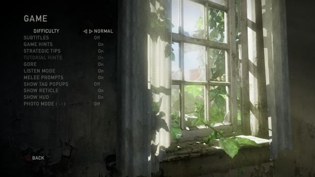 Main Menu - Last Of Us - Options - Game