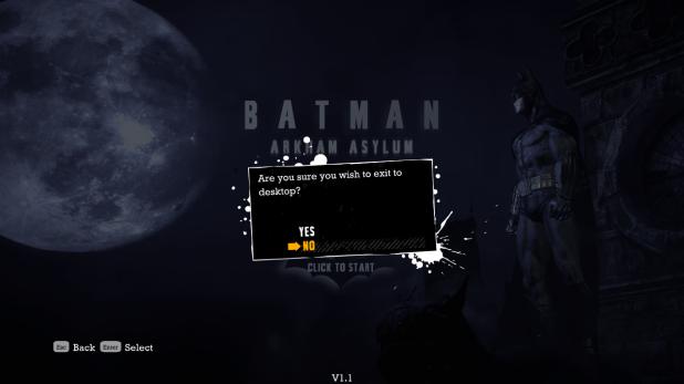 Start Sequence UI - Batman Arkham Asylum