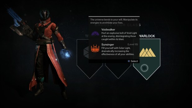 Class Selection (Character Customization) - Destiny