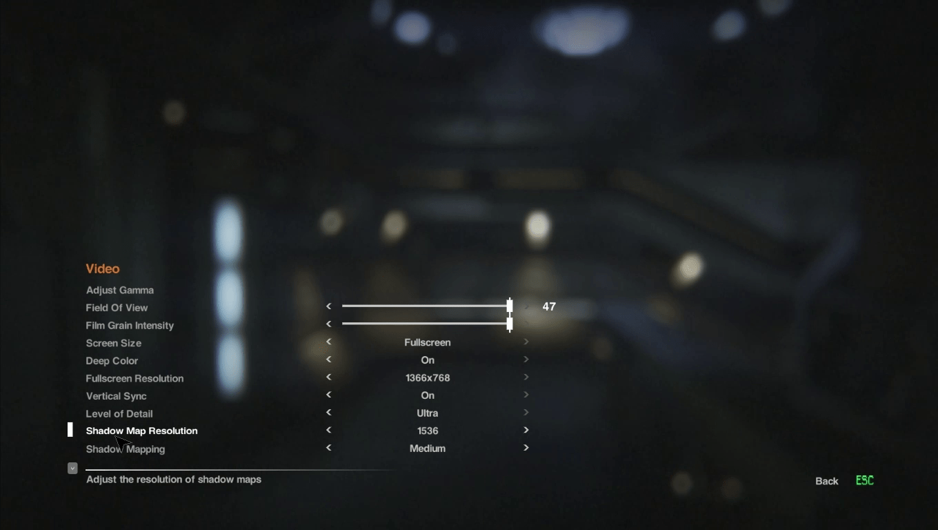 Settings UI - Alien: Isolation