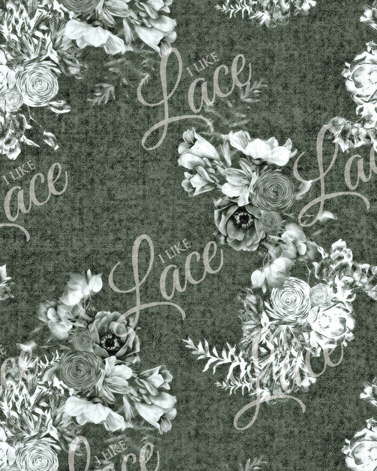 anna warm sage floral french terry fabric