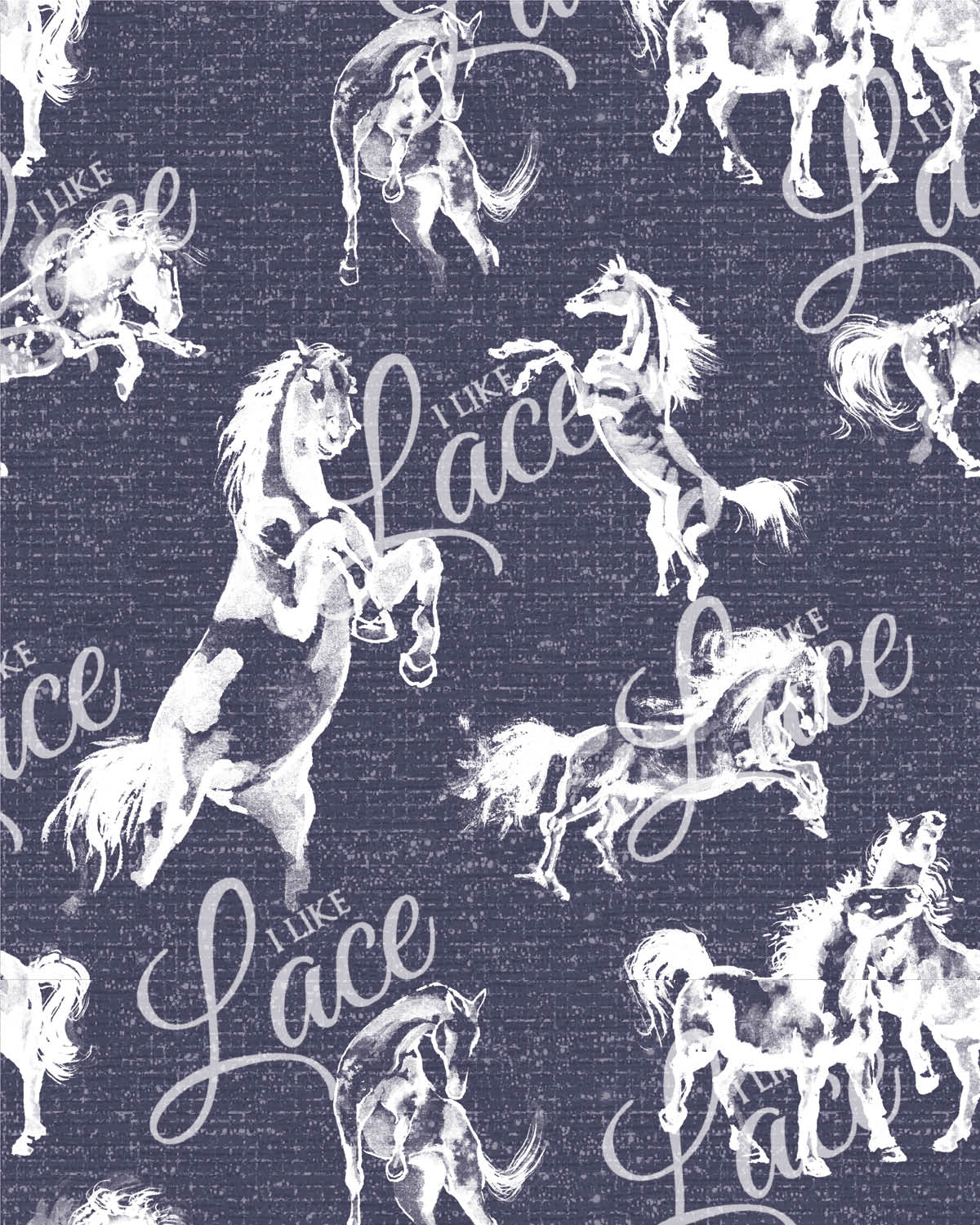 blue farm horse knit fabric for children's clothing