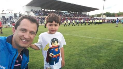 Celebrating on the pitch with my nephew Oscar