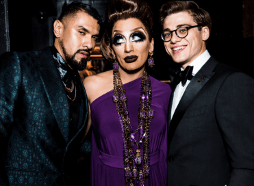 gay porn awards 2018,Bianca del Rio, Boomer Banks, and Blake Mitchell, hostess and co-hosts of the Str8upgayporn Awards Ceremony