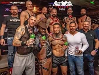gay porn awards 2018 Hustlaball winners showing their trophies