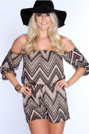 Beige Black Printed Off Shoulder Romper - $22.99