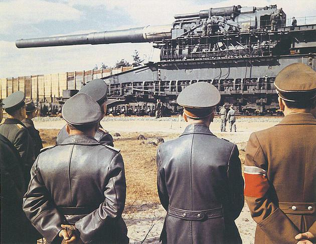 Hitler looking at the 'Gustav' railway gun